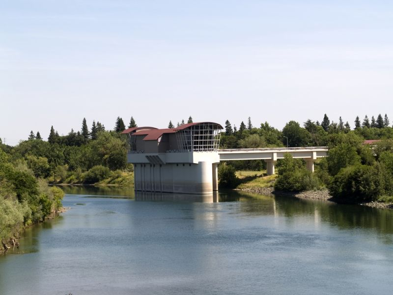 Building along the rive at California State University, Sacramento