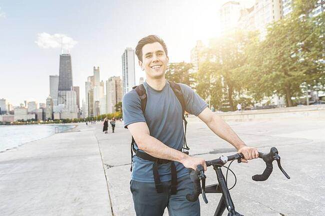 Student with bicycle in Chicago