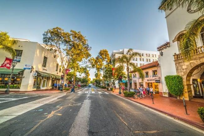 Downtown street view in santa barbara