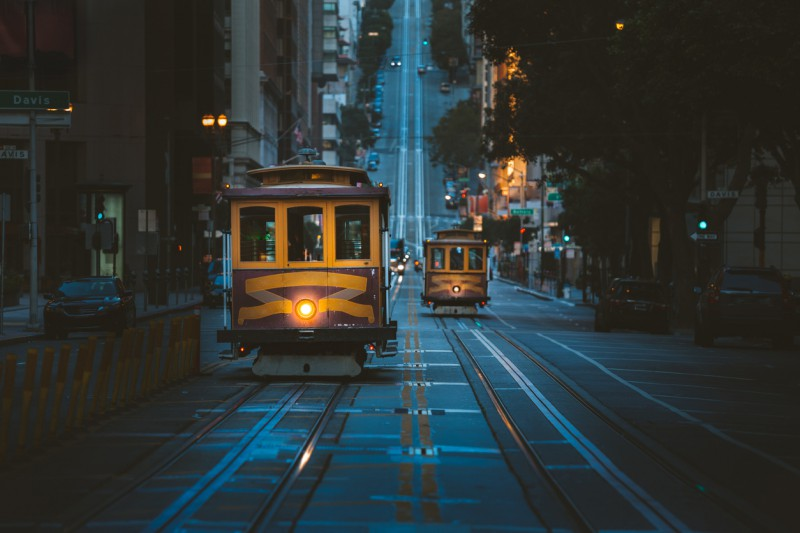 Famous San Francisco_Cable Cars at Night