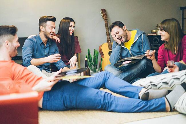 Students chatting in residence of halls