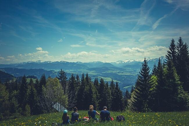 Group of students enjoying mountain veiw