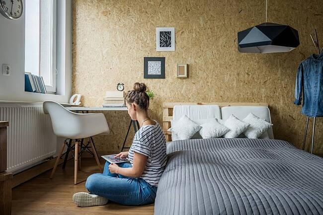 Student studying in her private room
