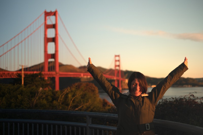 San Francisco Exchange Student in Front of Golden Gate Bridge